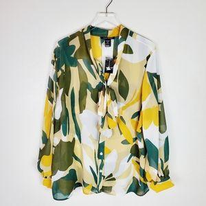 Ashley Stewart Green & Gold Print Tie Neck Blouse